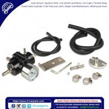 Universal Aluminum Alloy Fuel Pressure Regulating Valve + Pressure Gage + Hose Kit Black