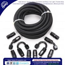 6AN 20-Foot Universal Black Fuel Pipe 10 Black Connectors