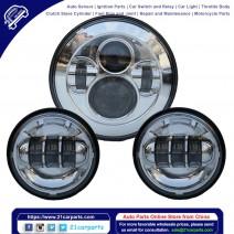"7"" 6500K White Light IP67 Waterproof LED Headlight 2pcs 4.5"" 6-LED Fog Lamps Kit for Vehicles"
