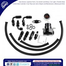 Universal Aluminum Alloy Fuel Pressure Regulating Valve + Pressure Gage + 6pcs Connectors Kit Black