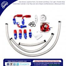 Universal Aluminum Alloy Fuel Pressure Regulating Valve + Pressure Gage + 6pcs Connectors Kit Red &